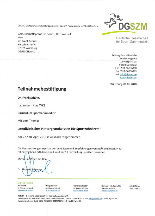 Dr. S. - Teilnahmebestätigung DGSZM Ansbach 27.+28.4.18